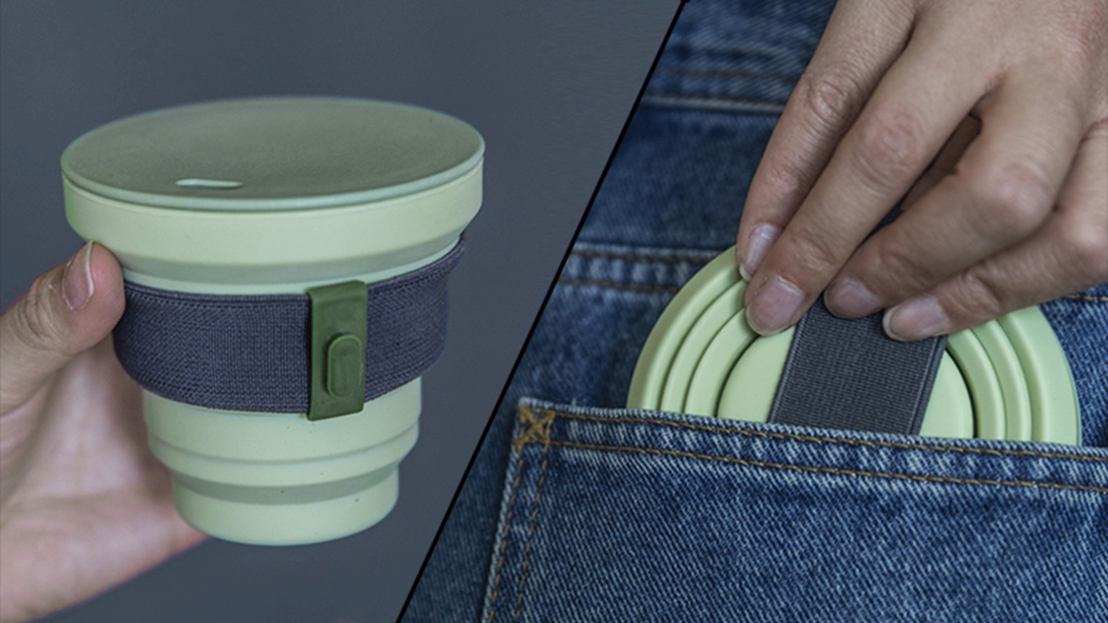 A beautifully designed reusable cup that folds down small enough to fit in any pocket or bag.