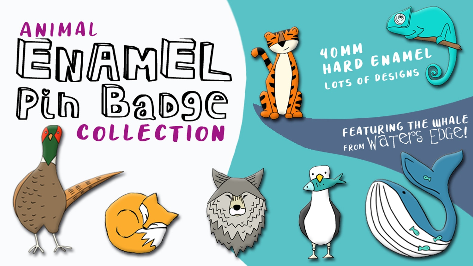 Hard enamel pin badges featuring my quirky 'non-bear' animal illustrations including the whale from Waters Edge!