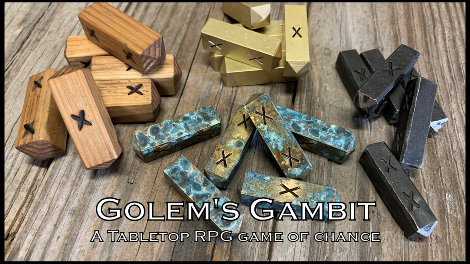 Golem's Gambit is a fantasy tavern game featuring hand crafted wood, iron, and brass playing pieces.