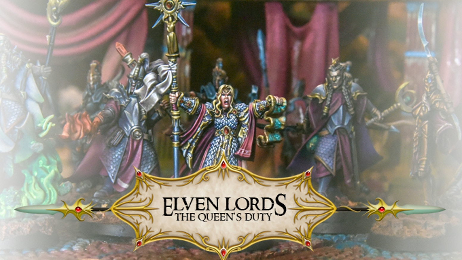 The Elven Lords: Queen's Duty. Our third elven campaign in kickstarter with new models as the Black Swan knights, Dragon Knight, etc.