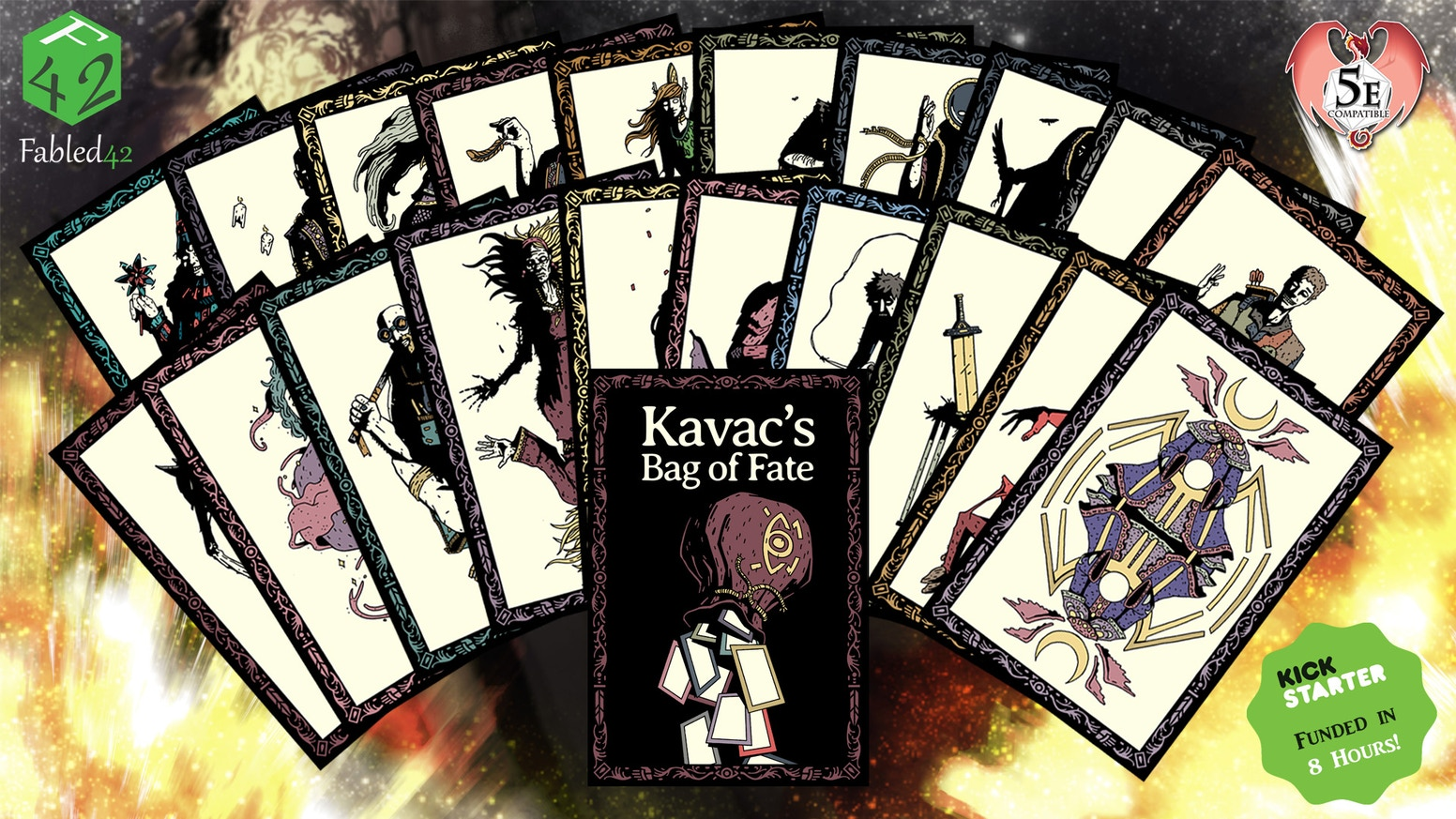 A complete deck of 20 cards to change the fate of your tabletop game. Compatible with D&D 5E or your favorite fantasy RPG.