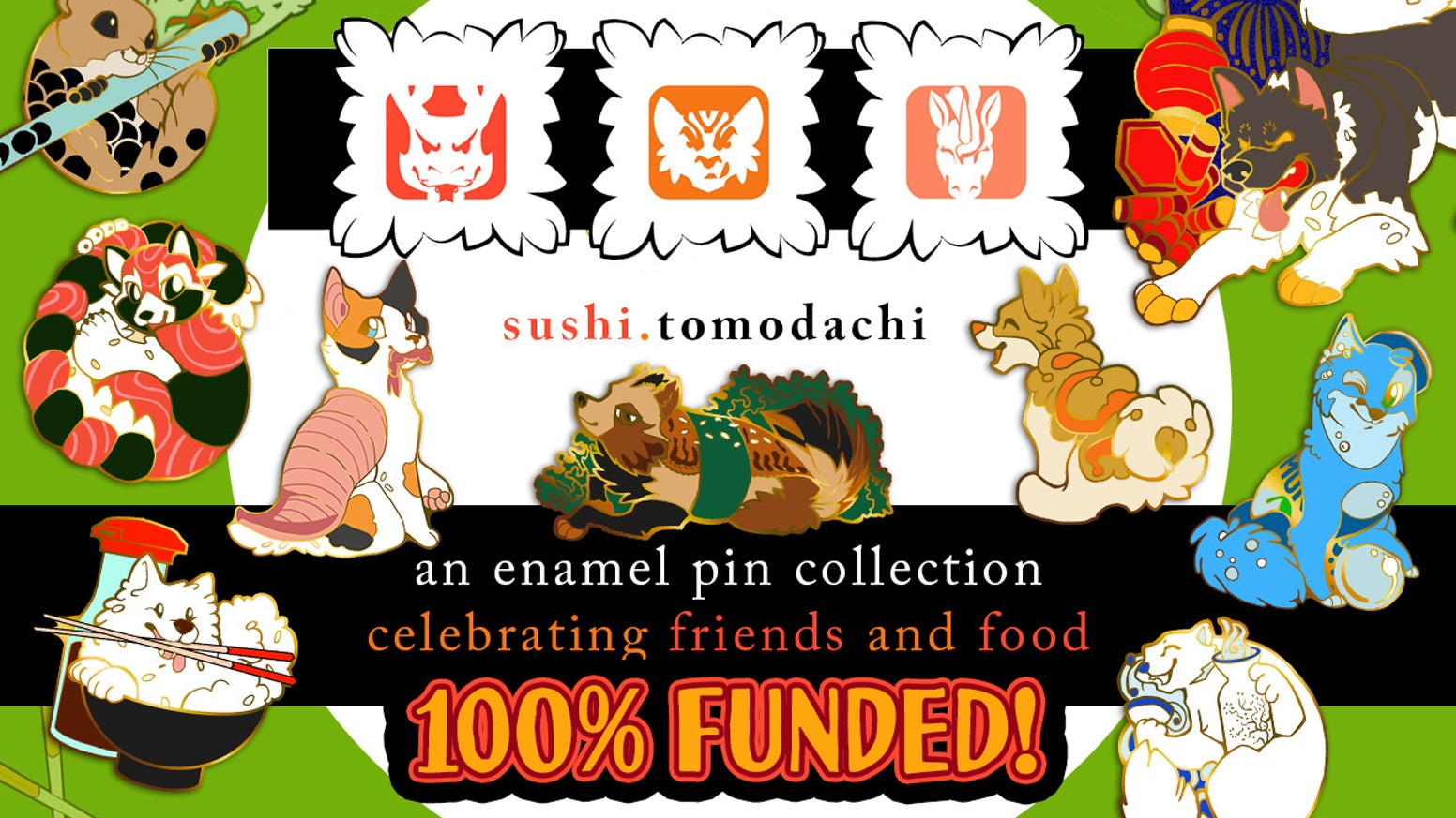 Nine New Sushi Tomodachi Enamel Pin Designs