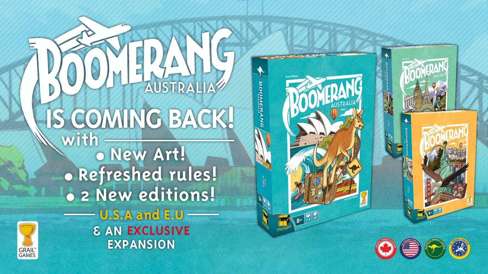 The come-back-again card game has returned with new art, new rules and two sister games! Now you can draft-and-write around the world!