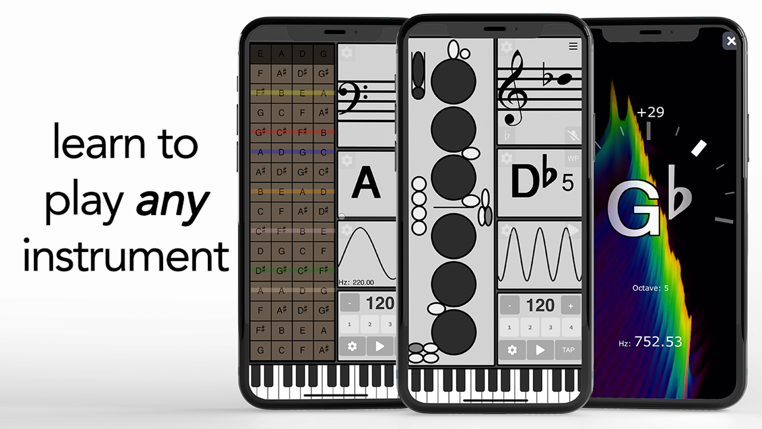 A new app for music education. Instrument Bible is a virtual fingering chart for brass, woodwind, and string instruments.