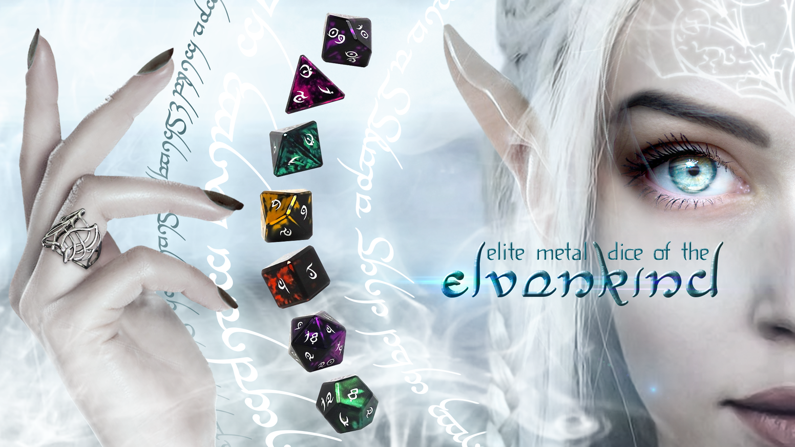 A new series of high-end, precision CNC aluminum dice featuring unique color blends and our hand-drawn, brand new Elvenkind font.