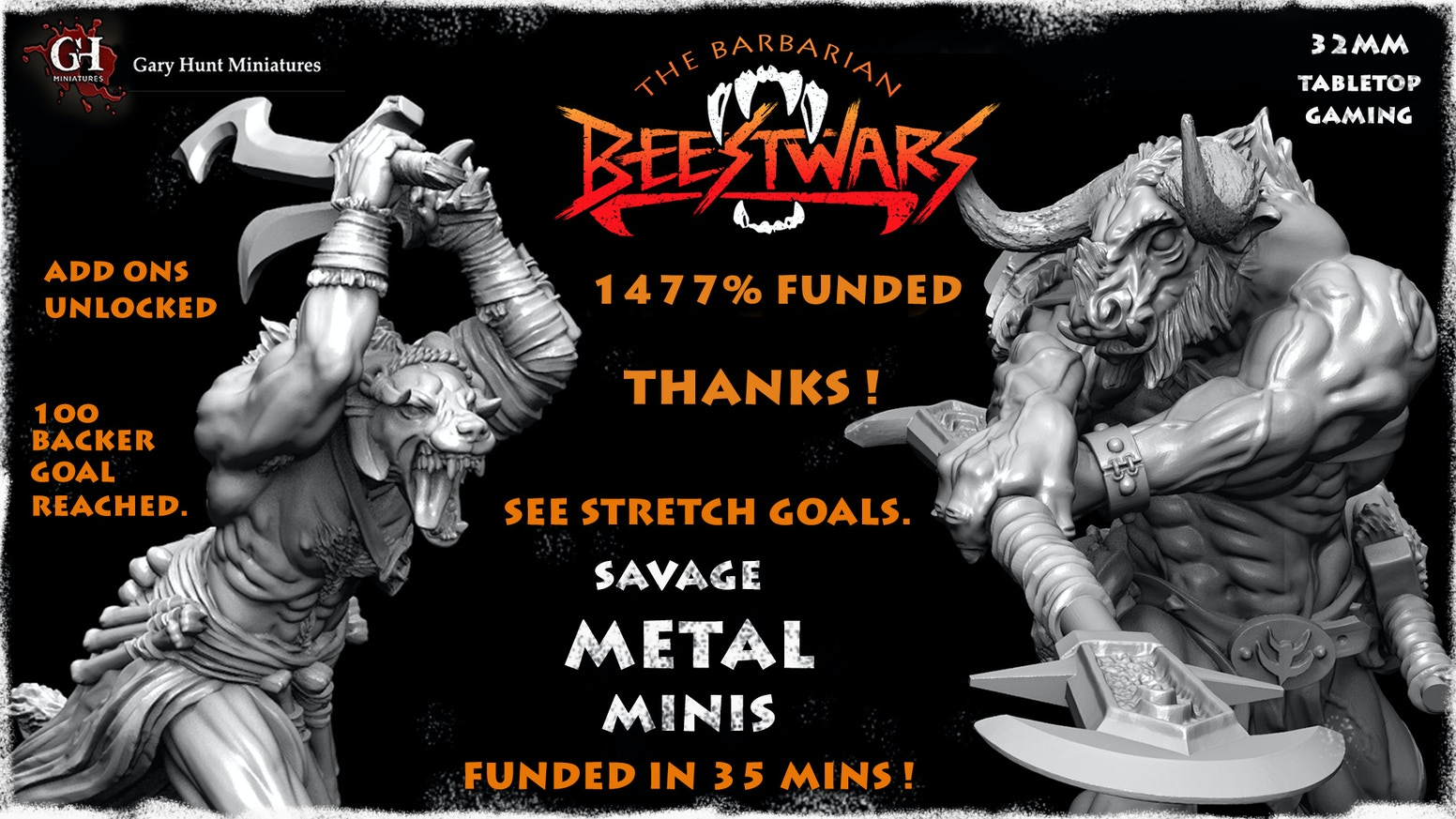 Minotaur vs Gnoll: Highly detailed metal miniatures designed for the 28-32mm tabletop.