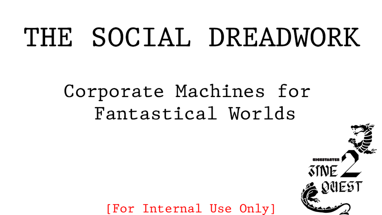 Corporate Machines for Fantastical Worlds - A Zine Quest offering