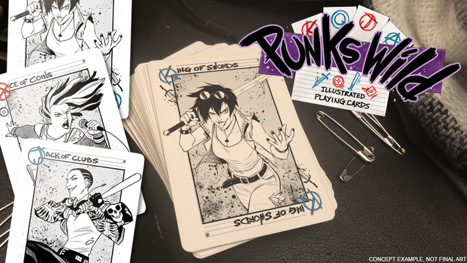 A full set of Poker-style playing cards featuring unique punk girl characters and art.