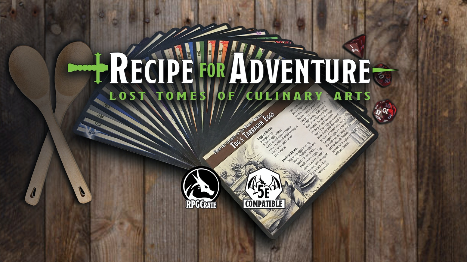 Adventure Cards with a tasty recipe on the front and an encounter on the back.