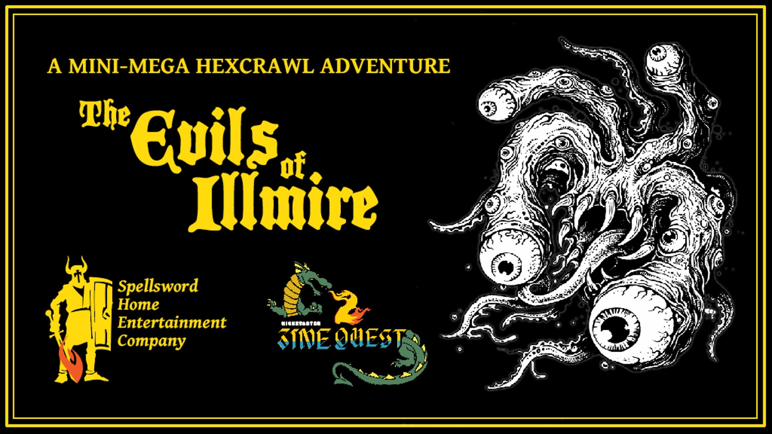 A 68-page jam-packed RPG adventure featuring a wicked cult, a doomed village, a dangerous wilderness, many deadly dungeons, and more!