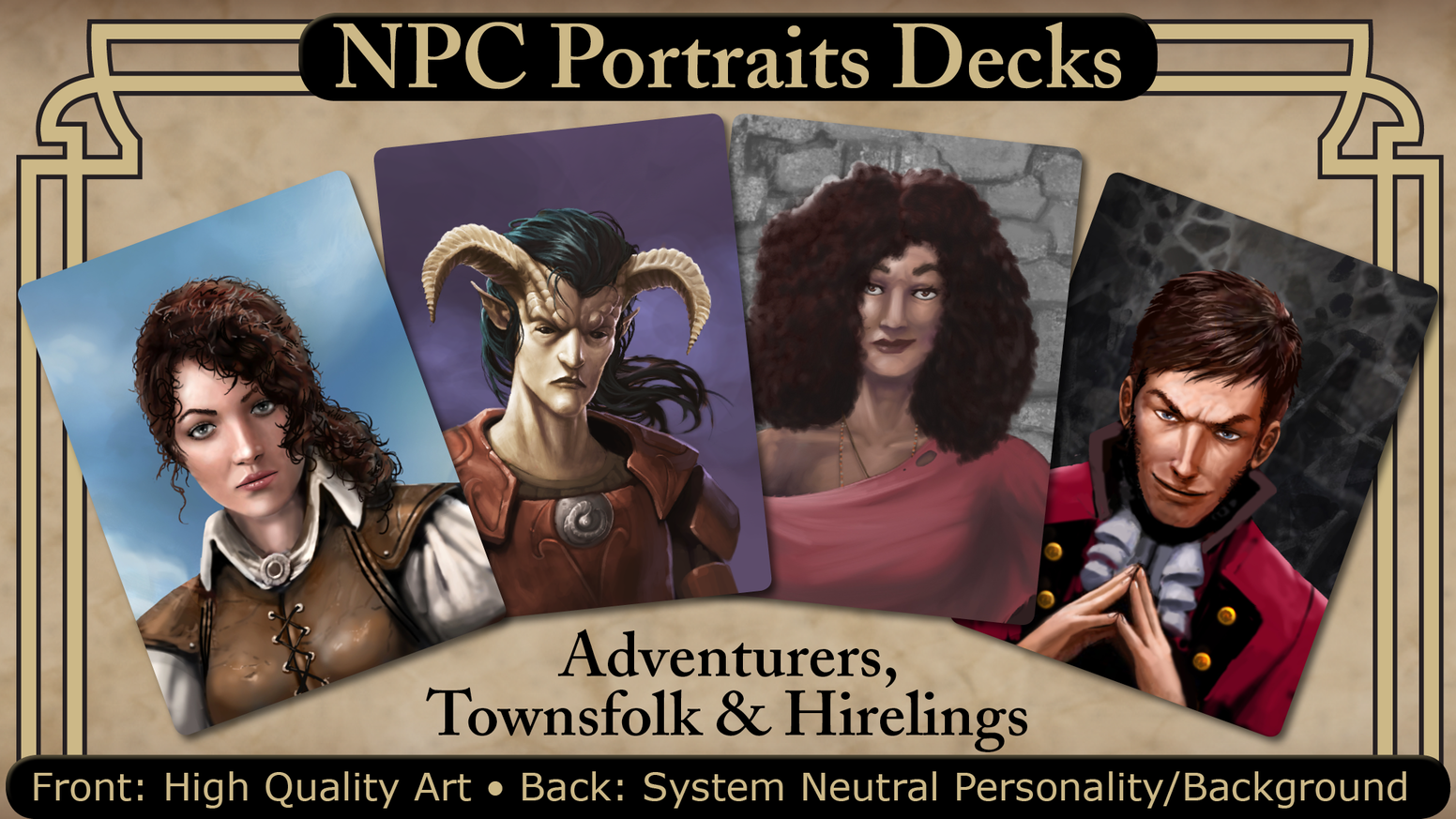 Non-Player Character card decks for any RPG. Portraits on the front. Personality and background on the back.