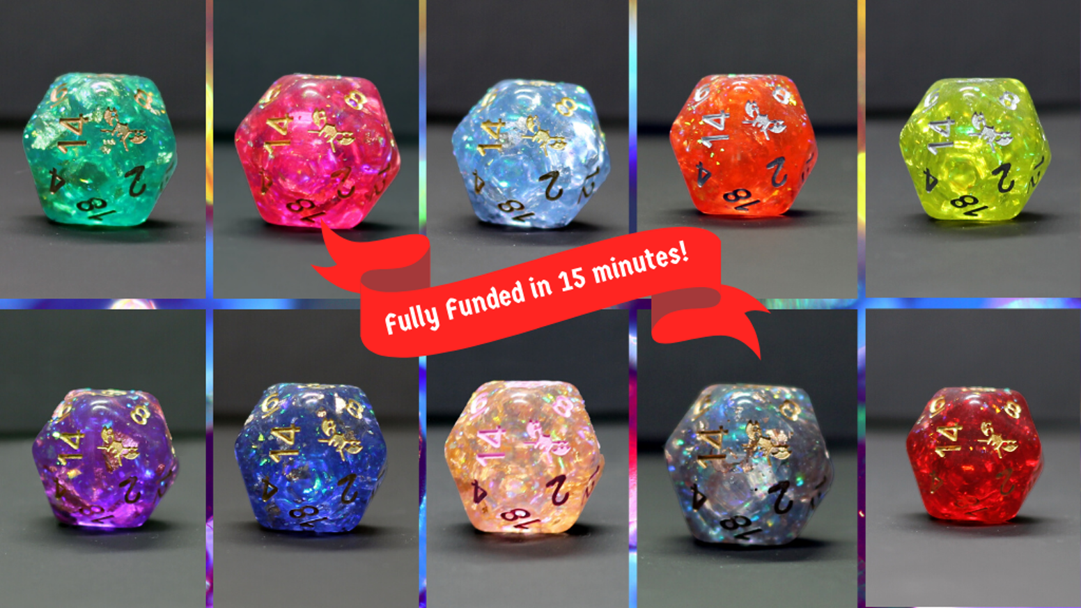 Beautiful 11 Piece Polyhedral Dice Sets for DnD and other tabletop games and RPGs. #SkullSplitter2020