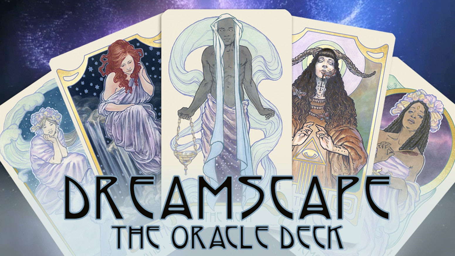 A magical, Art Nouveau inspired Oracle Deck by artist Matt Hughes, creator of the Ethereal Visions Tarot Deck.