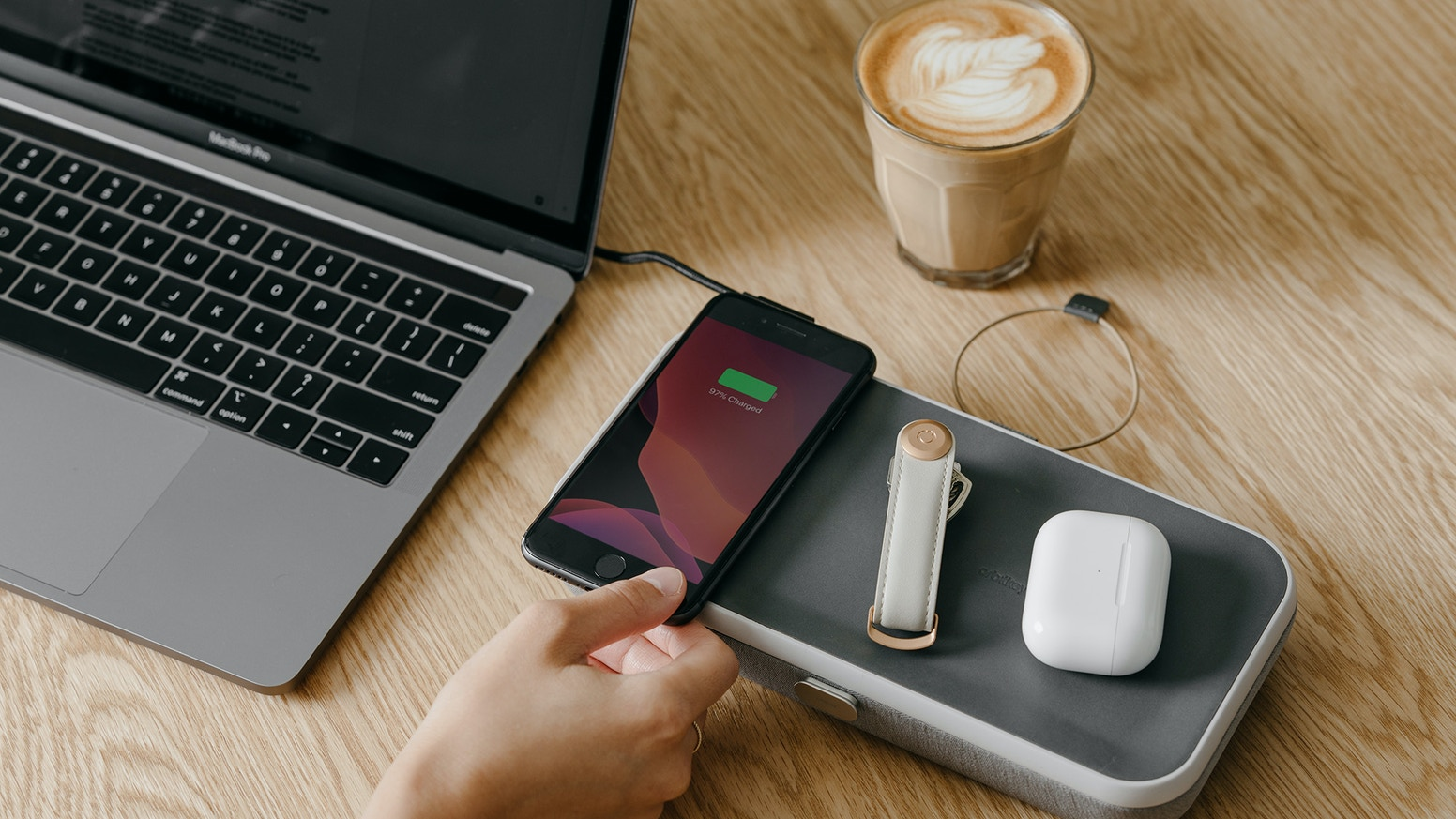 The portable and customisable desk organiser with an in-built wireless charger.