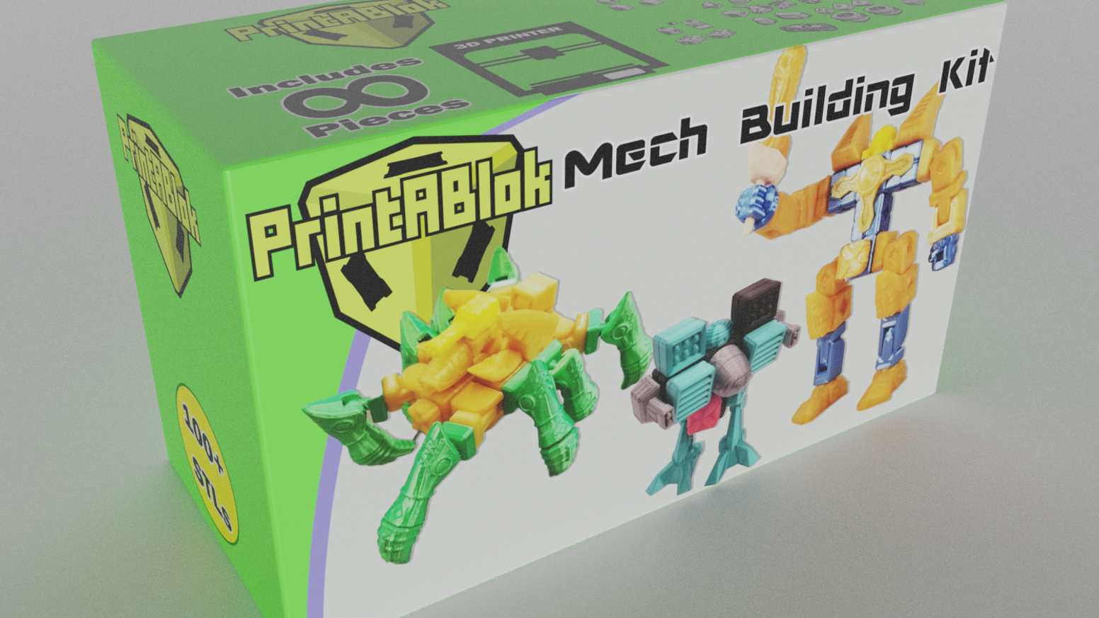 Mech themed modular toy sets for your 3D printer.