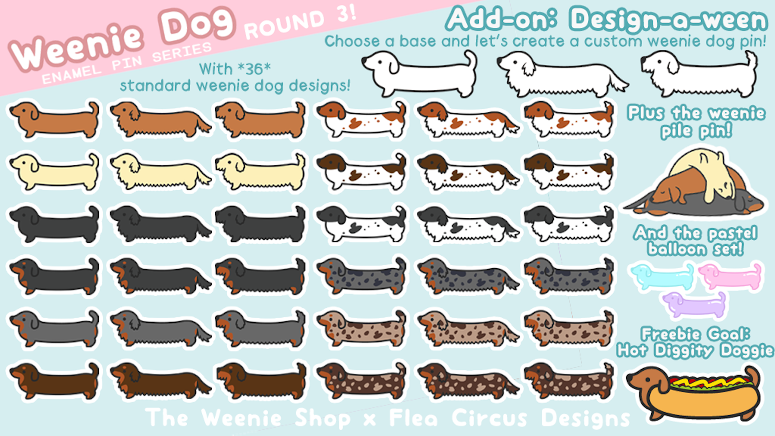 Let's make more weenie dog enamel pins - now with more designs! A dachshund for everyone~