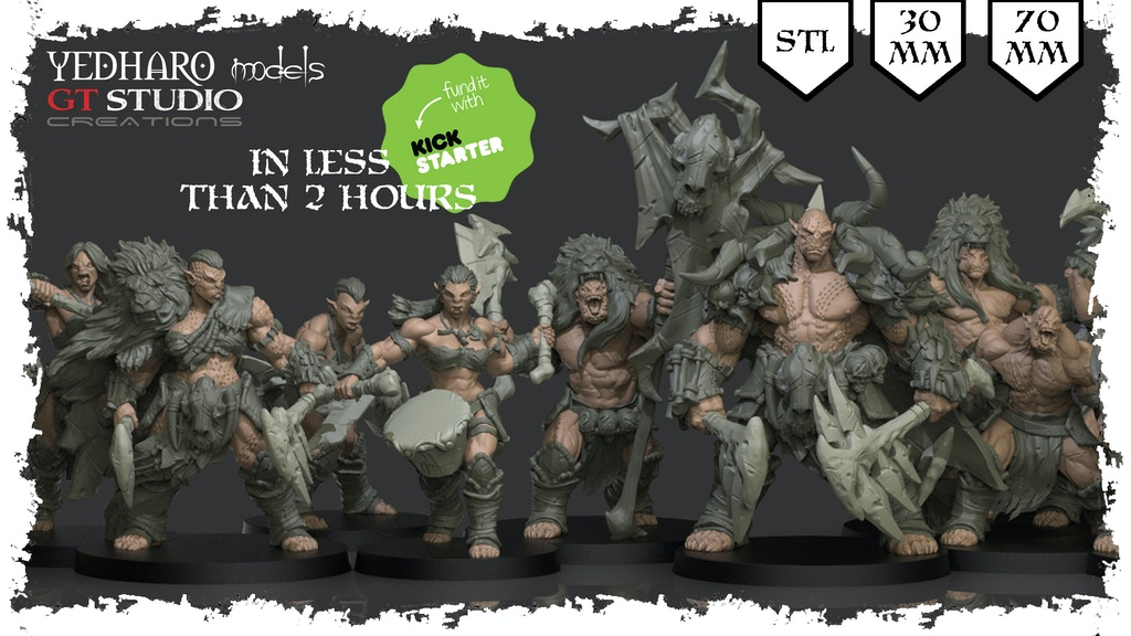 Savage Orc Miniatures by Yedharo / GT Studio. 30 - 70 mm STL project video thumbnail