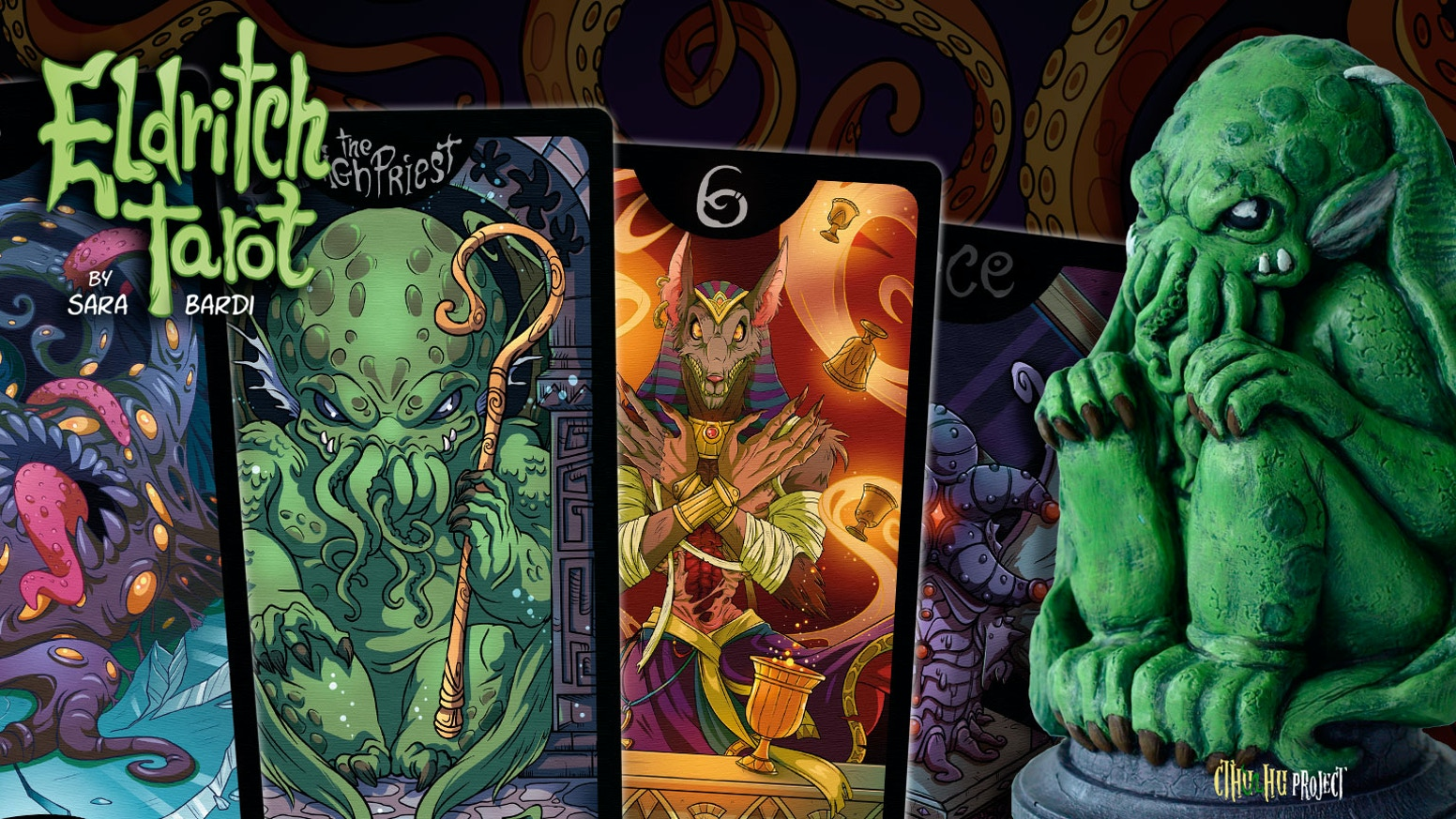 The complete Cthulhu Tarot (78 cards) with the custom bag, wooden box & Cthulhu idol. Lovecraft collection.