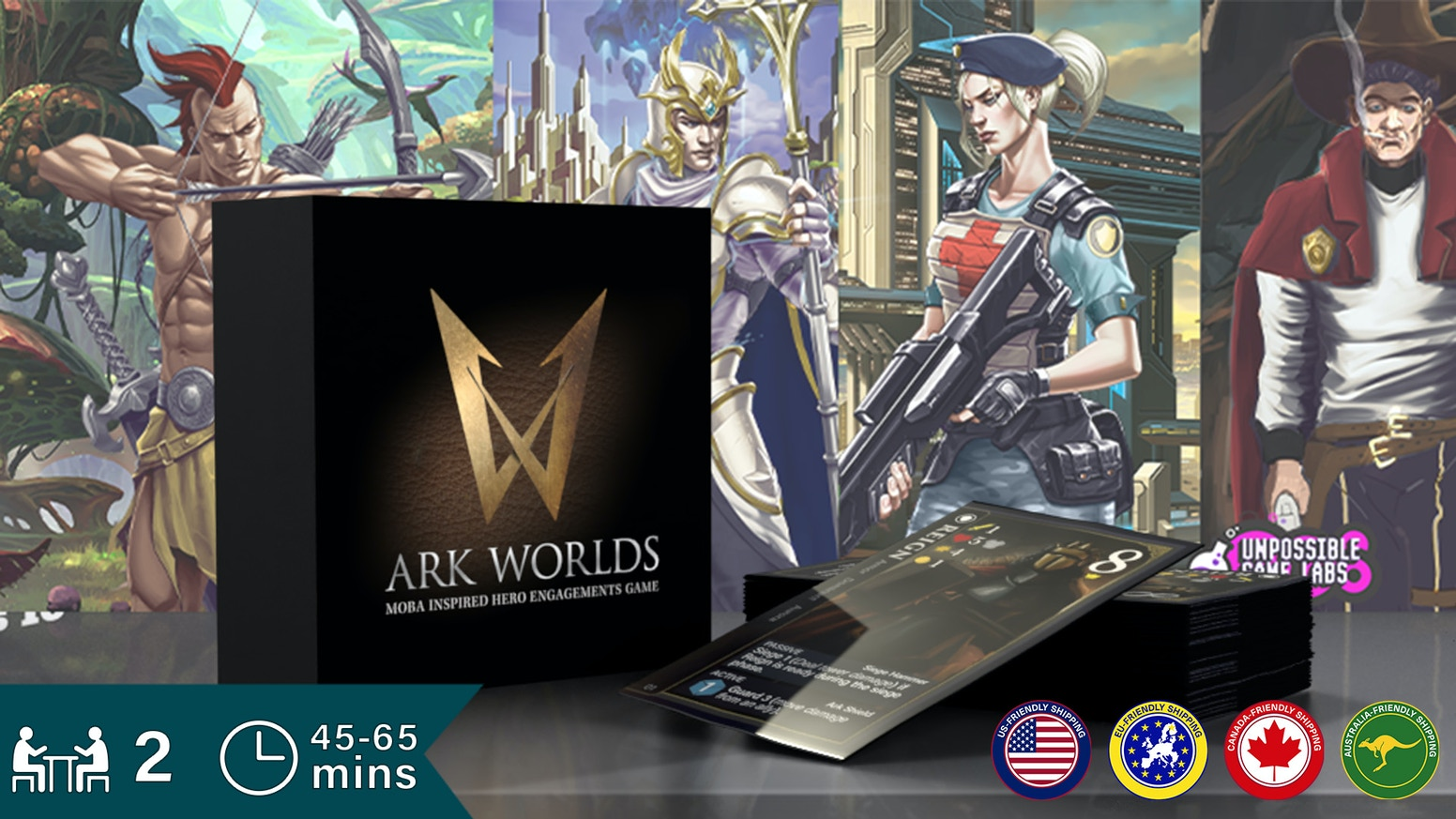 Choose your heroes wisely. Ark Worlds is a 2 player, MOBA card game of tactics and resource management that sets up in minutes.