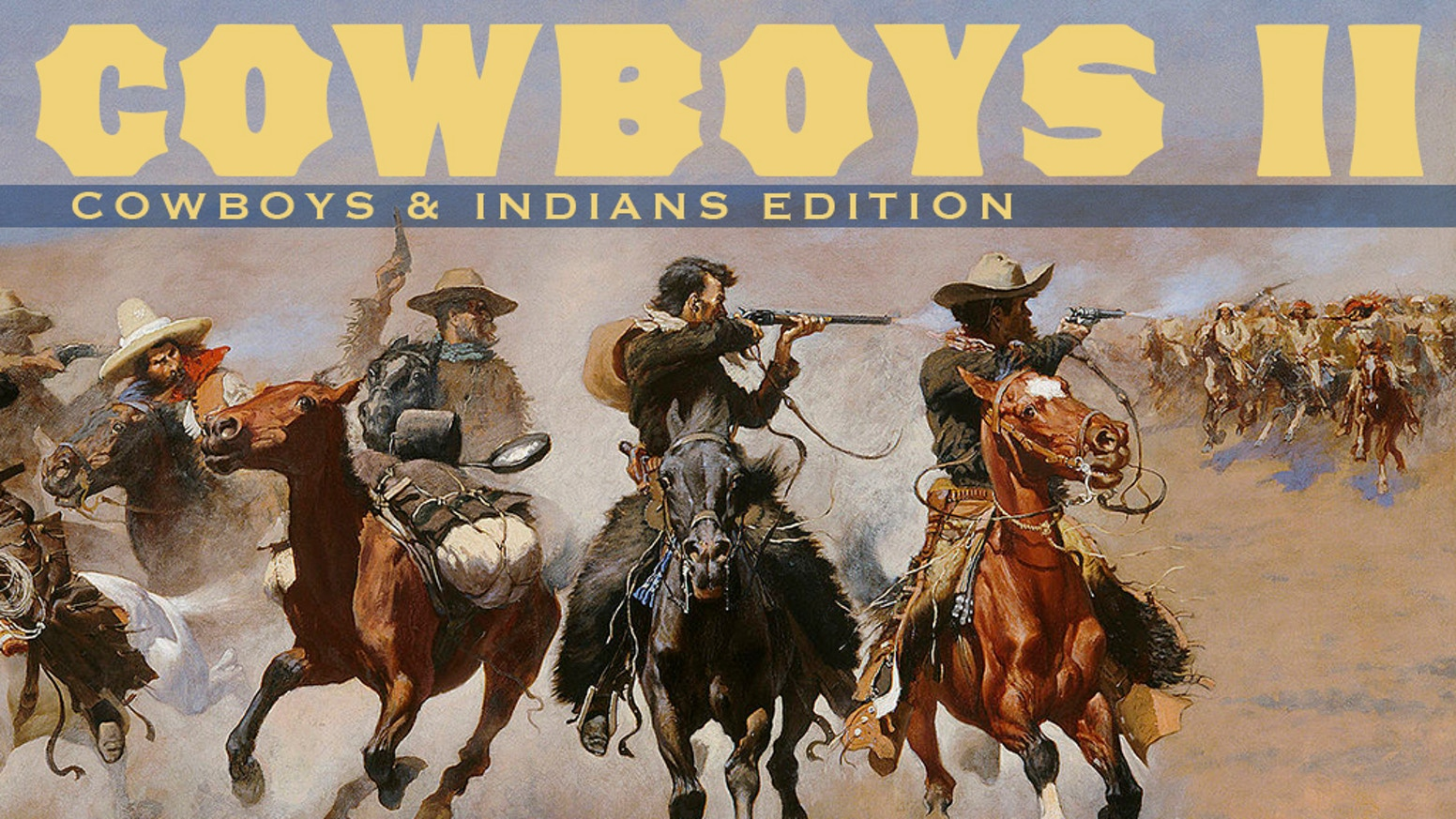 """A NEW game based on the Worthington classic """"Cowboys"""".  New scenarios, cowboy characters, Indians and gameplay.  Playable by 1 to 10."""