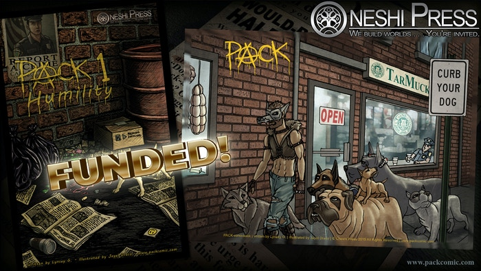 The 1st issue of the comic book series PACK will introduce the six stray dogs—and one stray man—who put crime under the fang!