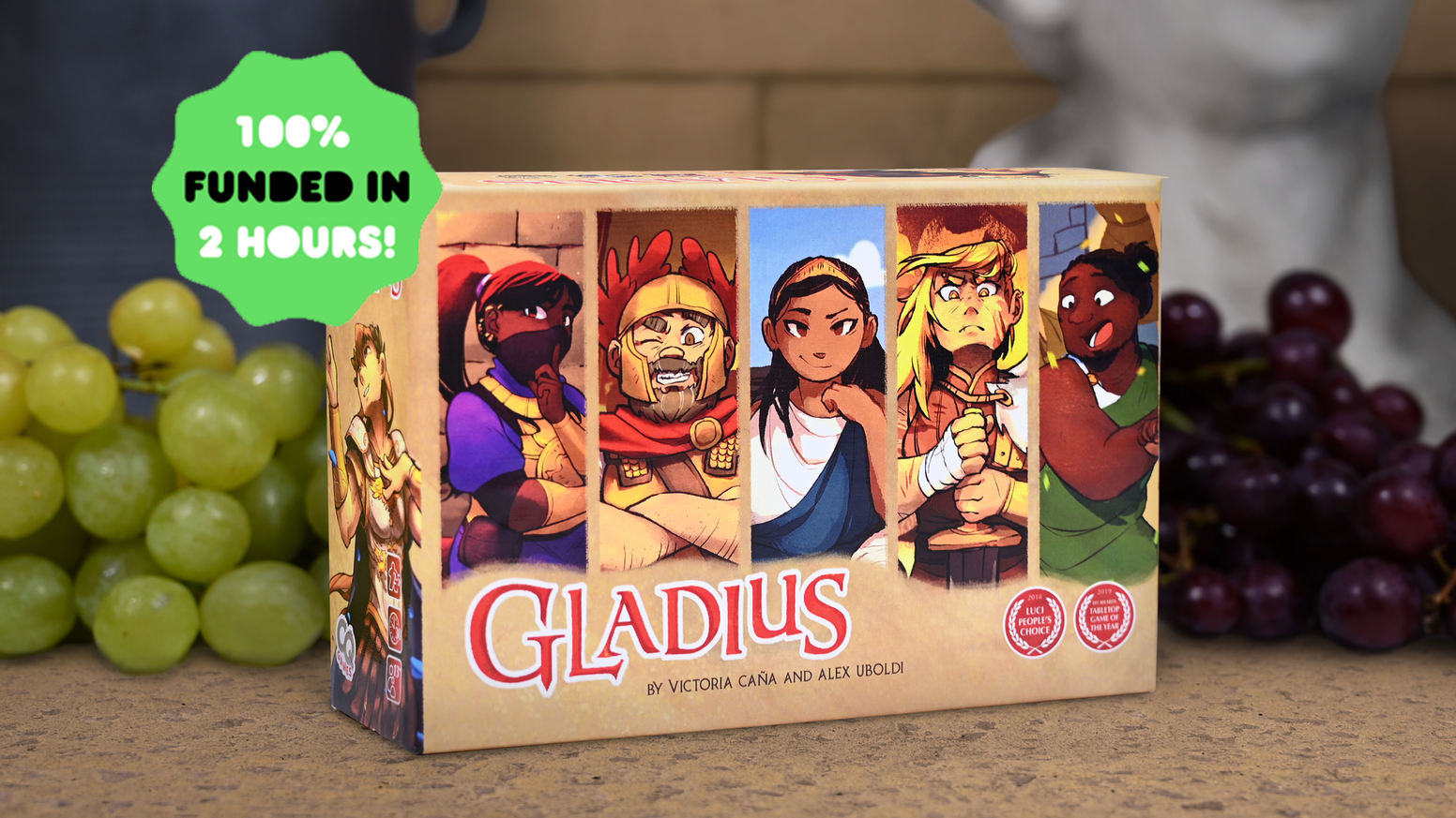 Bet on and rig the gladiatorial games in this award-winning board game featuring art by Cheryl Young.