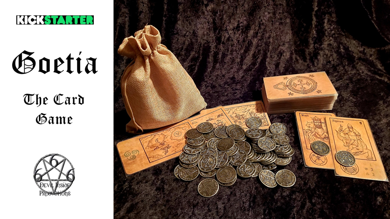 Lesser Key of Solomon Ars Goetia themed Card game with full set of hand finished double-sided metal Demon Seal coins + more included.