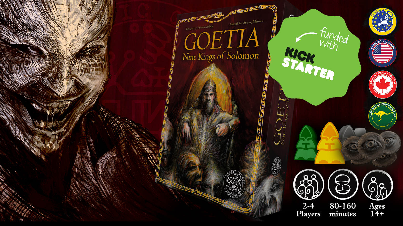 Goetia: Nine Kings of Solomon is a DARK EURO GAME where players will contact, conjure and worship real Goetic Demons!