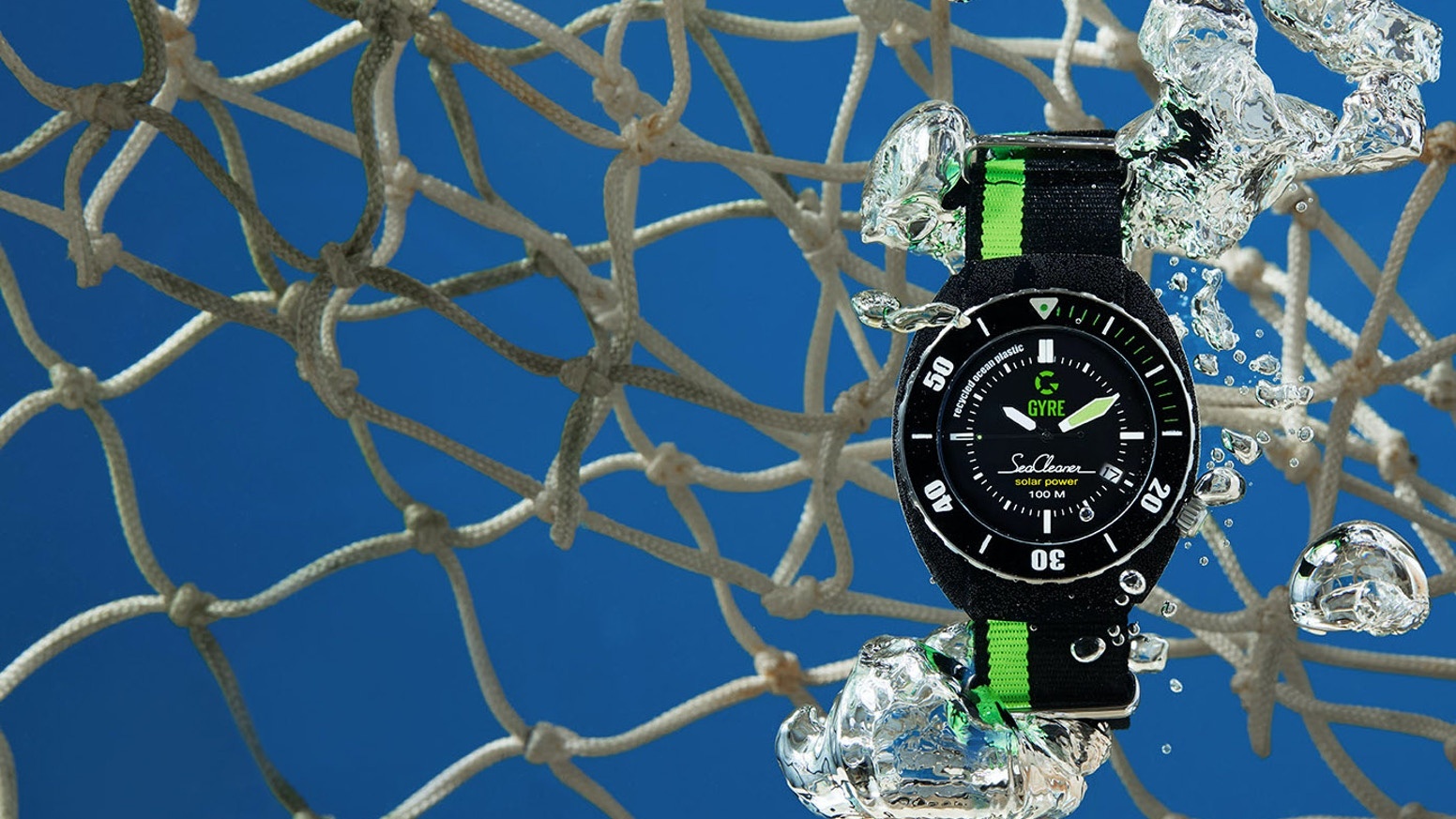 A sports watch made out of recycled fishing nets from the ocean