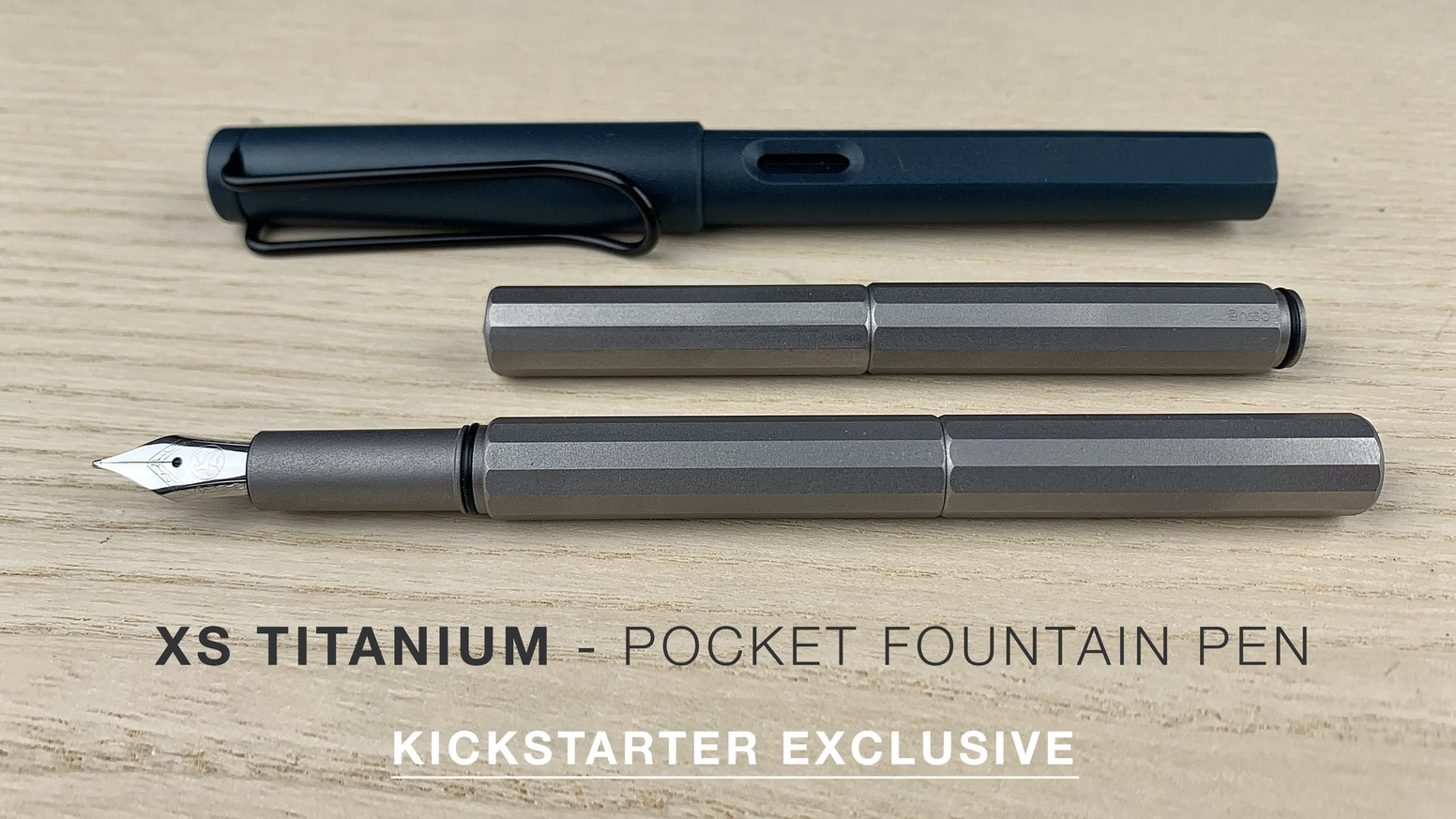 Version 2.0 of our compact fountain pen. Re-engineered design in matte Titanium. Only available on Kickstarter.