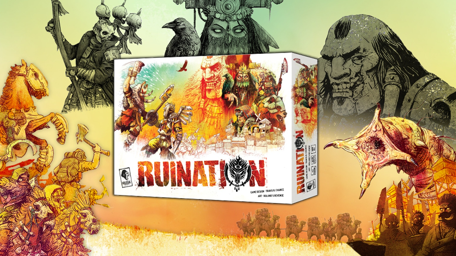Ruination is a 2-4 player game of post-apocalyptic conquest. Only the most resourceful horde will rule beside the Khan!