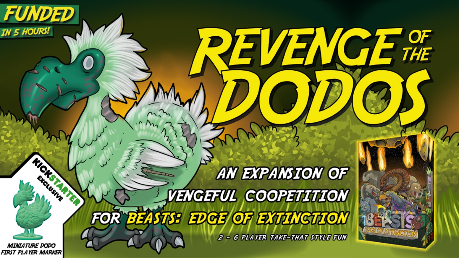 An expansion of vengeful coopetition for the Beasts: Edge of Extinction tabletop game.
