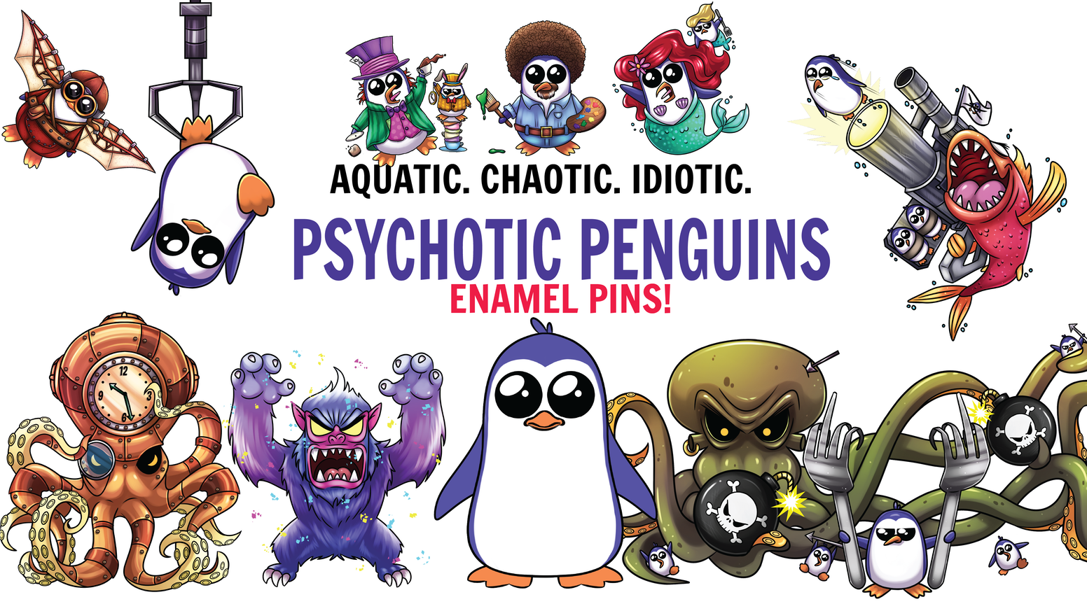 Enamel pin playing pieces for the forthcoming game, PSYCHOTIC PENGUINS! Collect yours now!