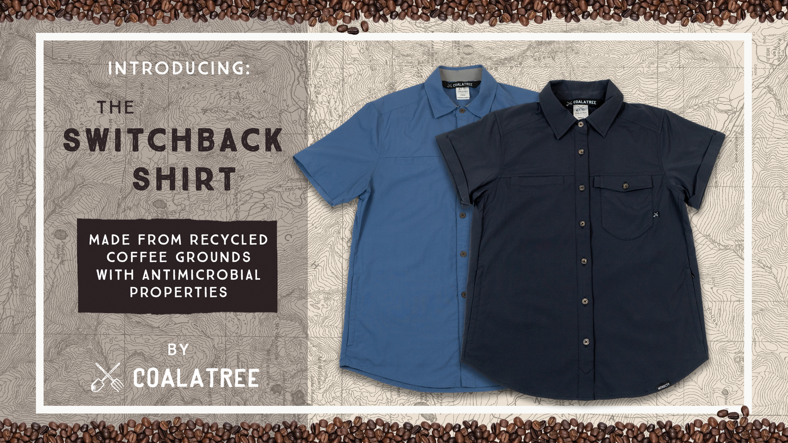 Spent coffee grounds are mixed and melted down with recycled plastic bottles to create the fibers for our innovative Switchback shirt.