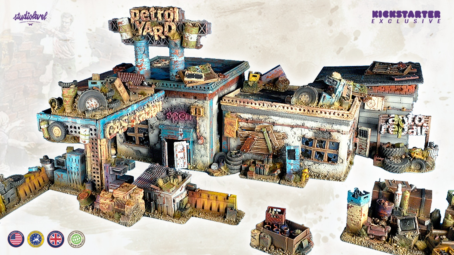 Post-apocalyptic handmade resin cast terrain. Epic, detailed scratch-built multi system in 28-32 mm scale for skirmish, wargame and RPG