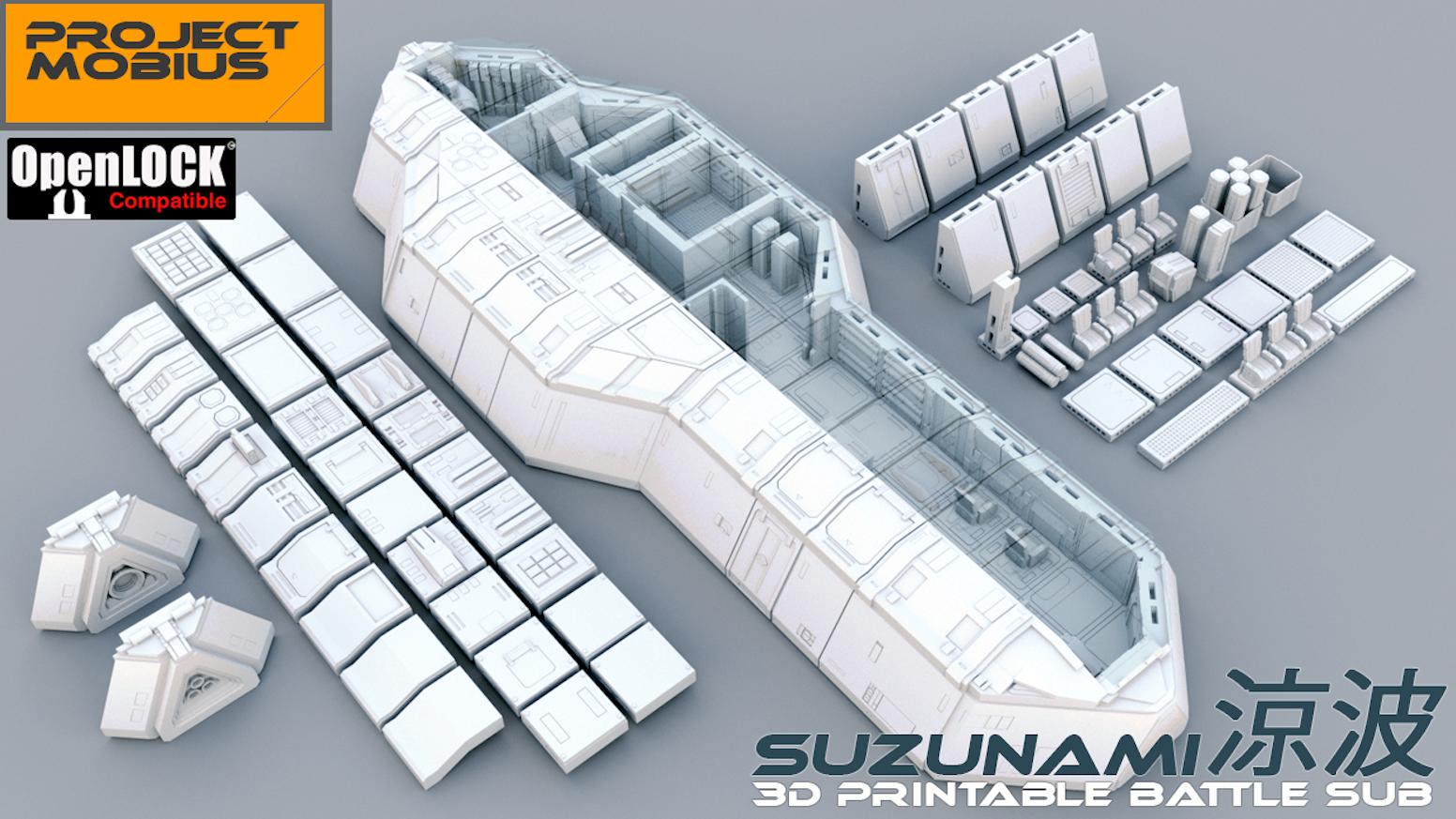 3D Printable OpenLOCK Compatible Tiles - Battle Sub Suzunami