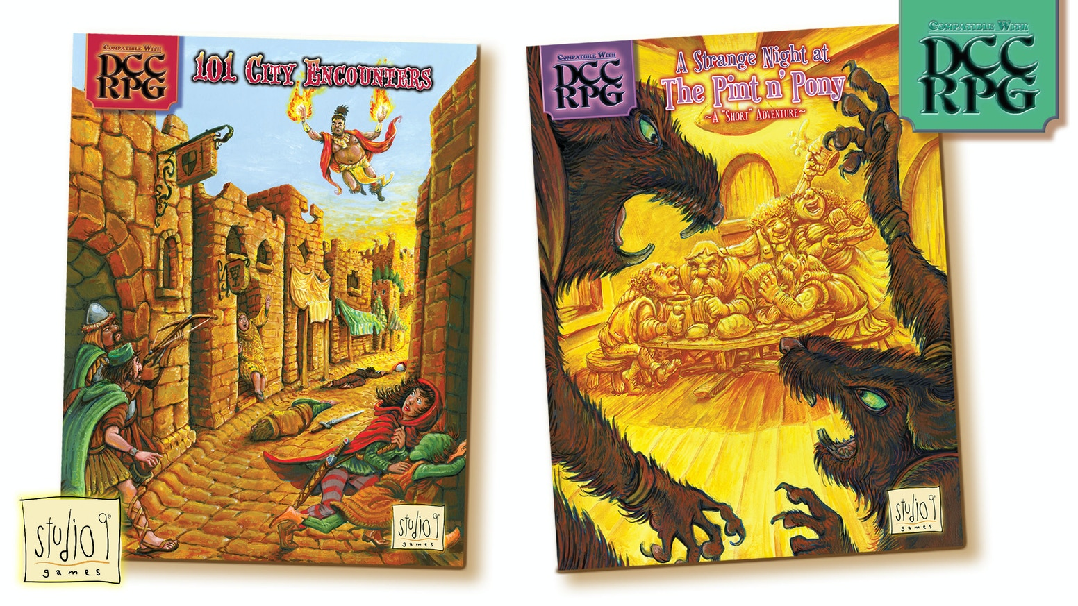 """Two booklets: An aide for Judges to create quick city encounters"""" & a """"pub-crawl"""" adventure for small heroes.Crafted for Dungeon Crawl Classics—adapts to any fantasy RPG."""