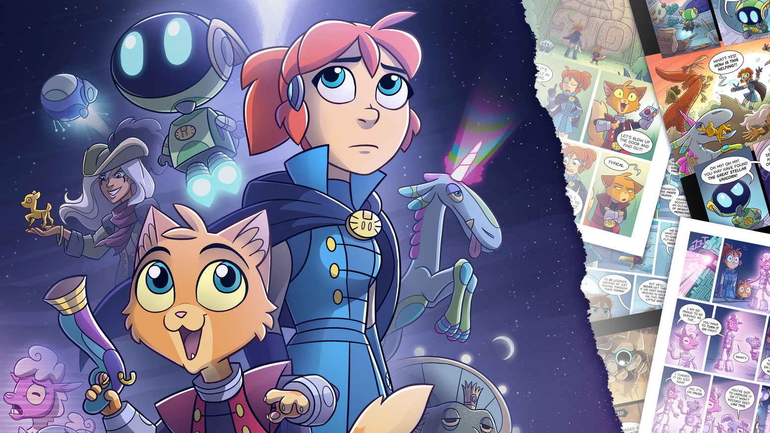 The print edition of Meow the Infinite, an epic science fiction comic about a starfaring princess and her fearless feline companion.