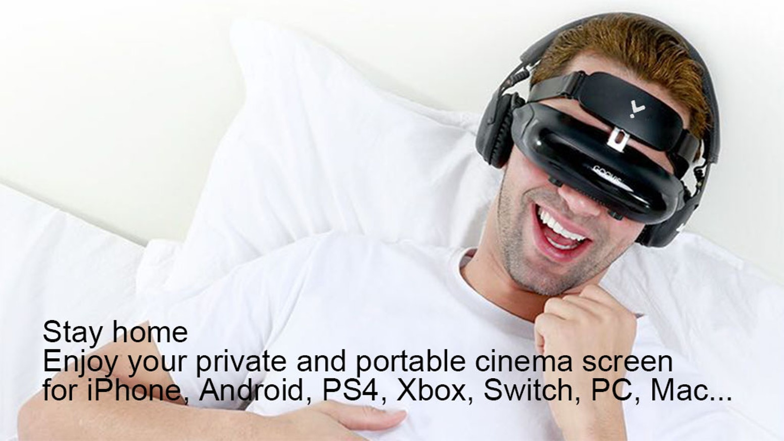 Escape anywhere with immersive big-screen quality entertainment in a pocket-sized head-mounted display.