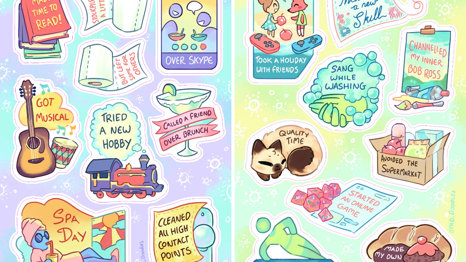 Self Care stickers to brighten up your Self-Isolation. Turn off the news, do something nice for yourself.