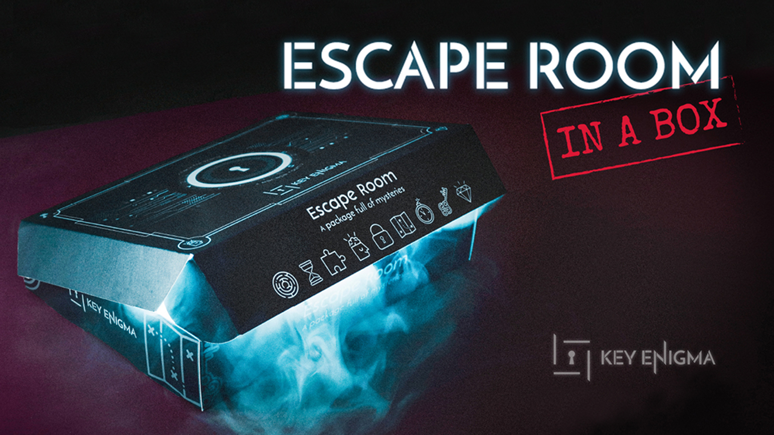 Escape Room in a Box that mixes puzzles, narrative and technology to immerse you in a challenging experience.