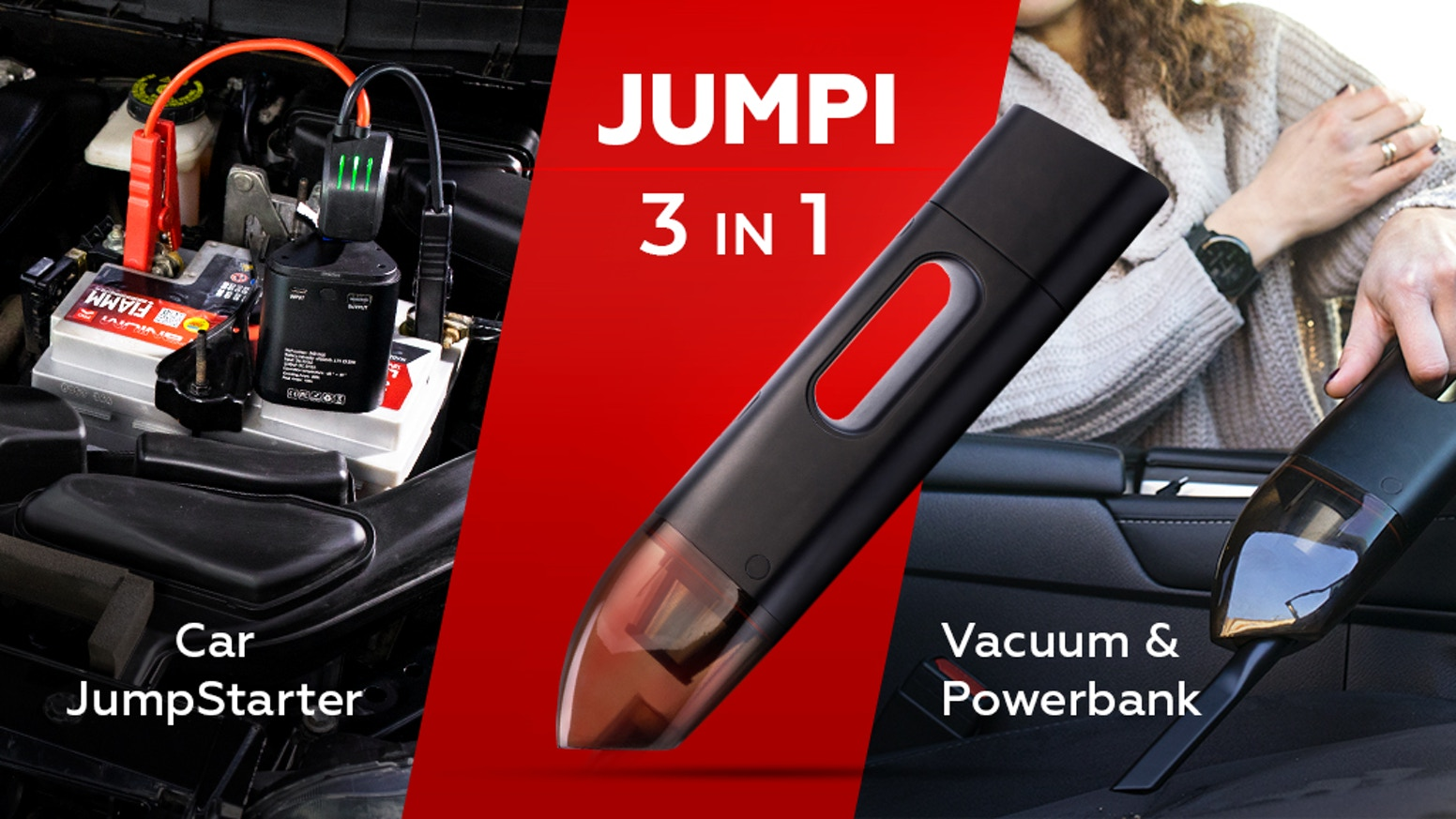 Be prepared for anything with Jumpi, the 3-in-1 jumpstarter + cordless vacuum + power bank car companion.