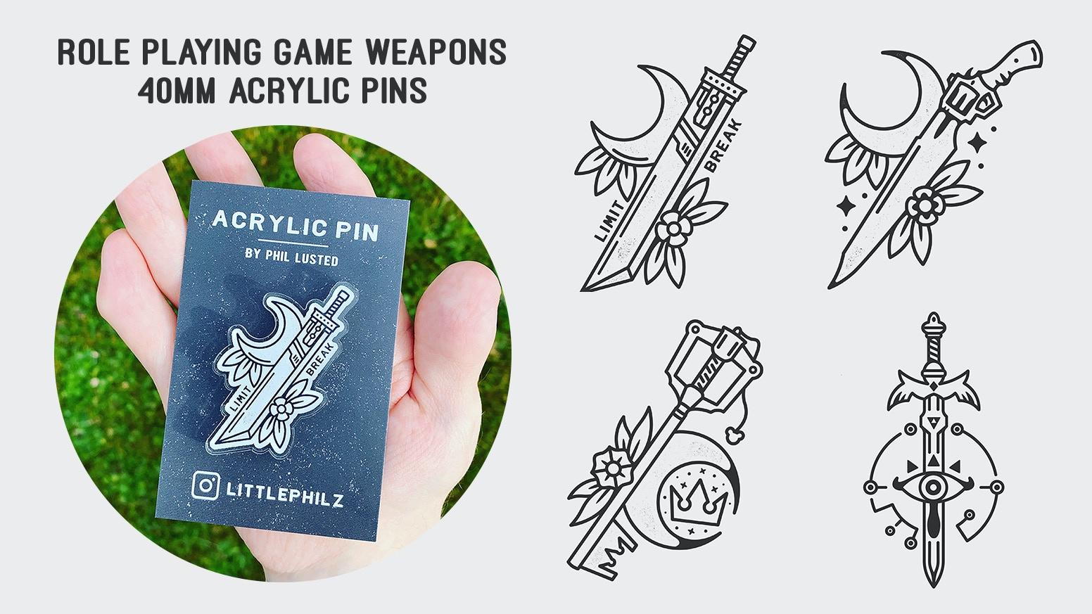 Buster Sword, Gunblade, Keyblade & Master Sword Inspired 40mm acrylic pins.