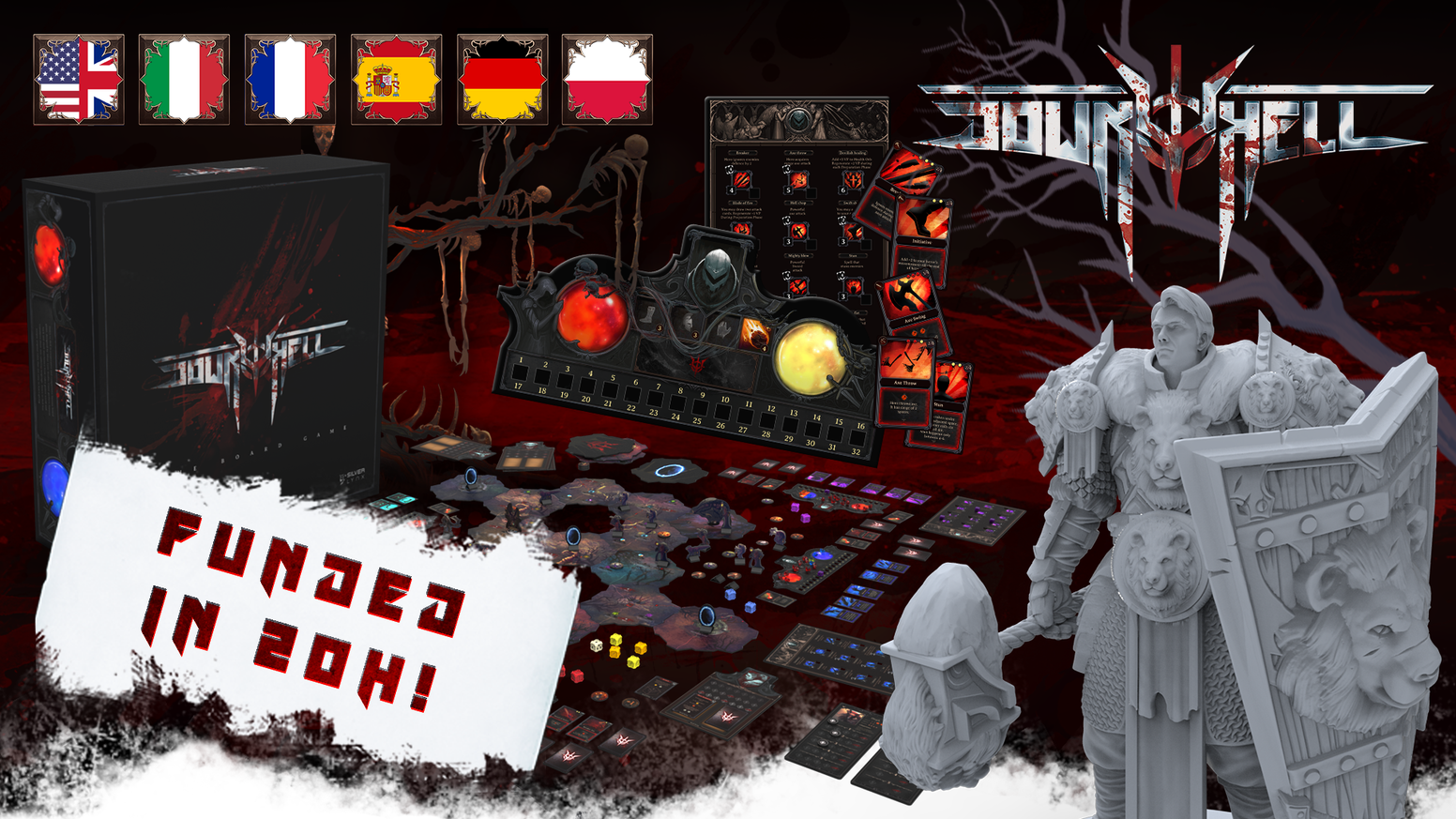 Down To Hell is a board game that faithfully reproduces popular hack and slash video games.