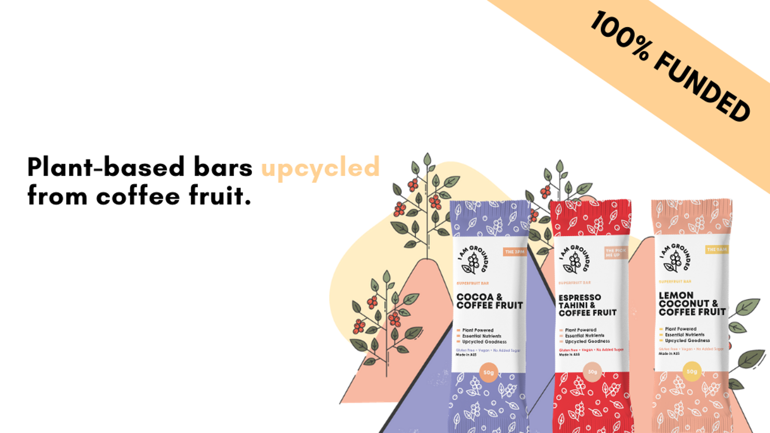 100% natural plant-based bars containing pure coffee fruit extract | Upcycled for impact.