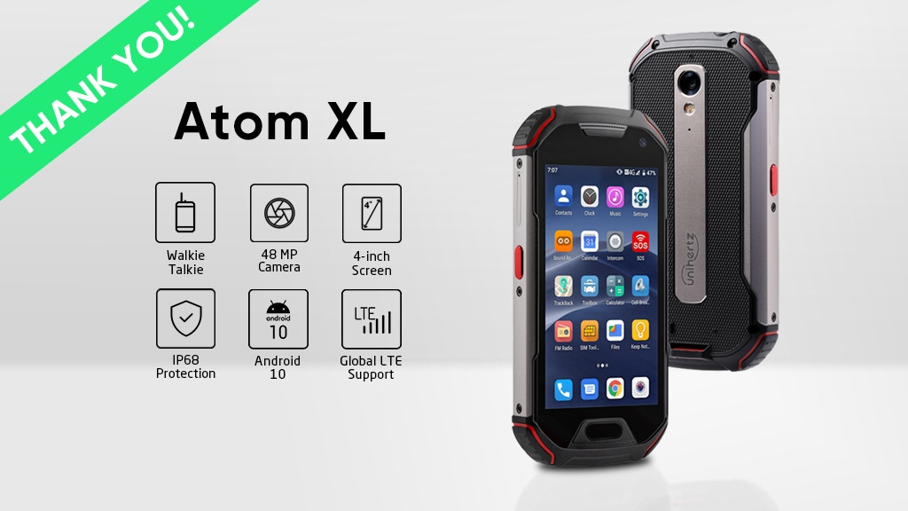 Atom XL, The Smallest DMR Walkie-Talkie Rugged Smartphone project video thumbnail