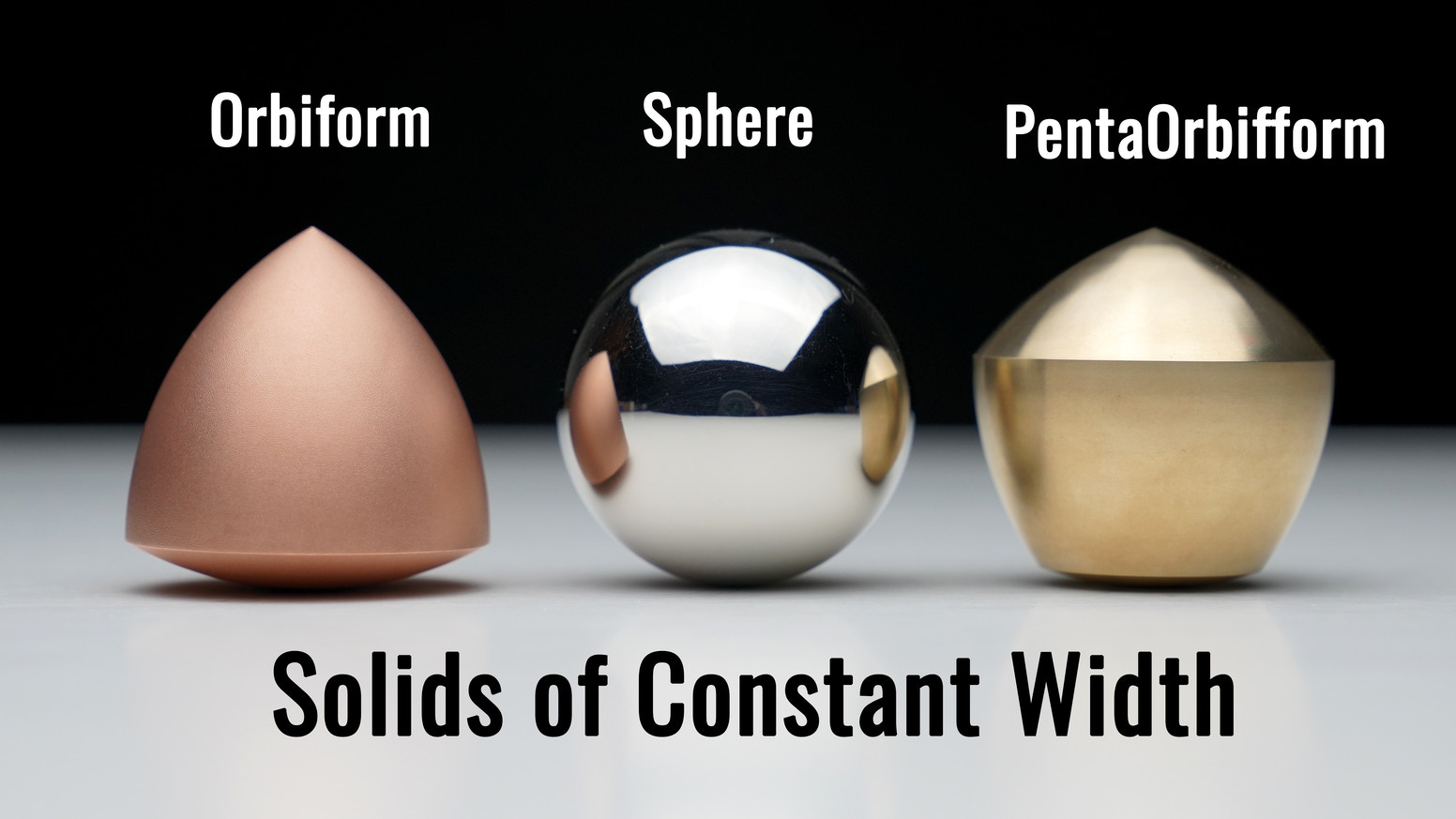 Precision machined solid Spheres designed to match our original solids of constant width, the Orbiform and PentaOrbiform.