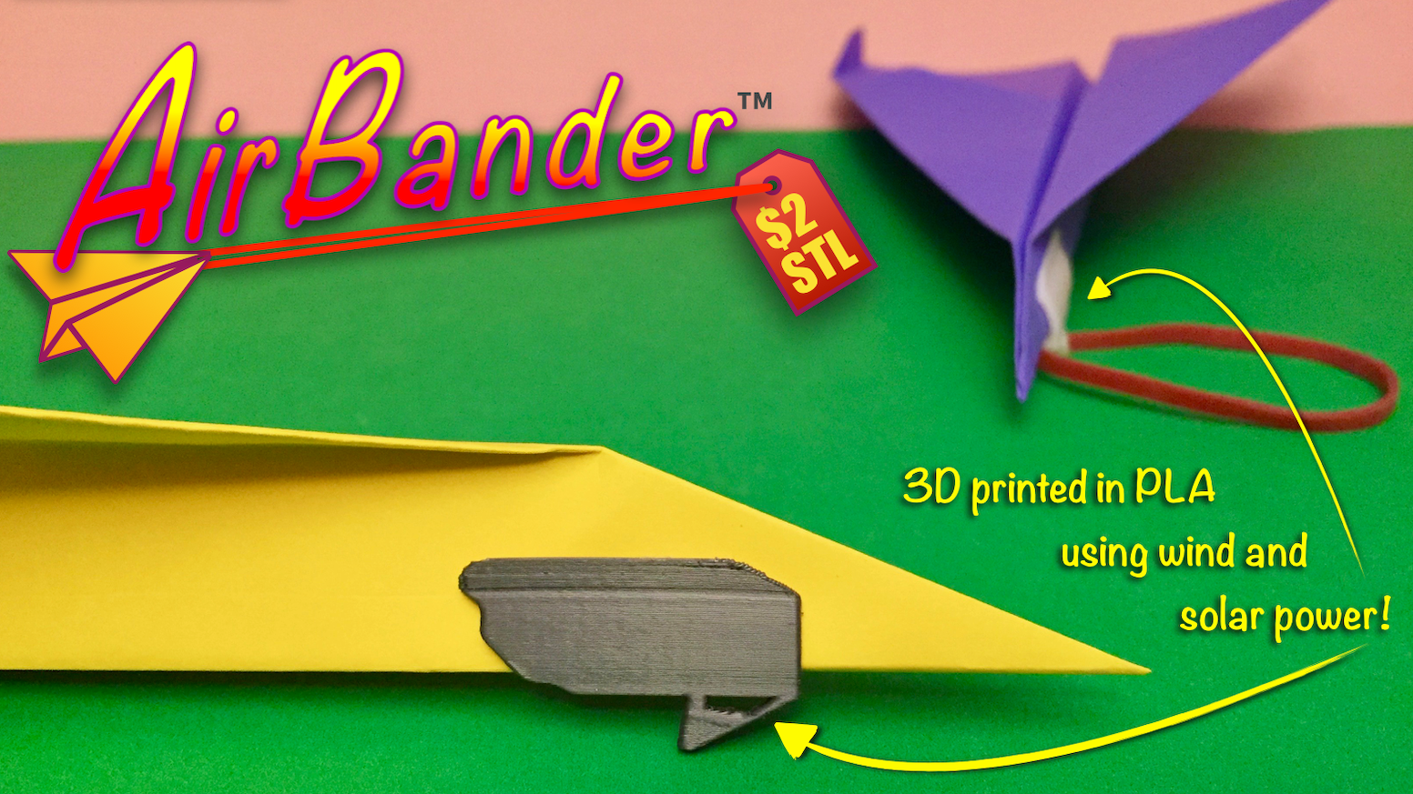 An Earth-friendly accessory for launching your paper airplanes with a rubber band. Compatible with many plane designs.