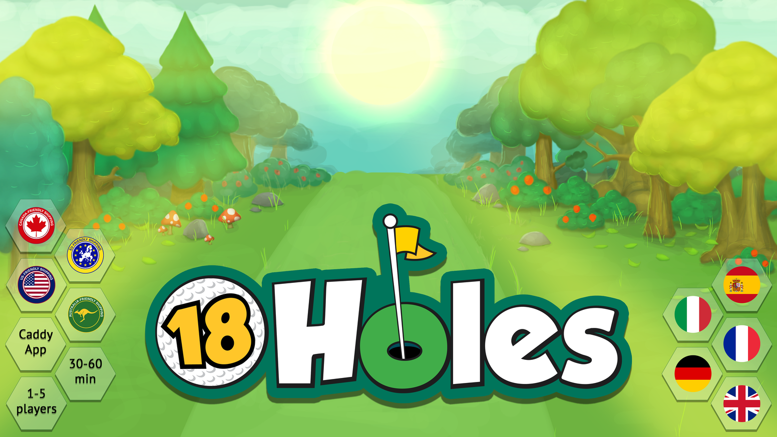 Hit off-course on purpose in this golf-themed board game for 1 to 5 players.