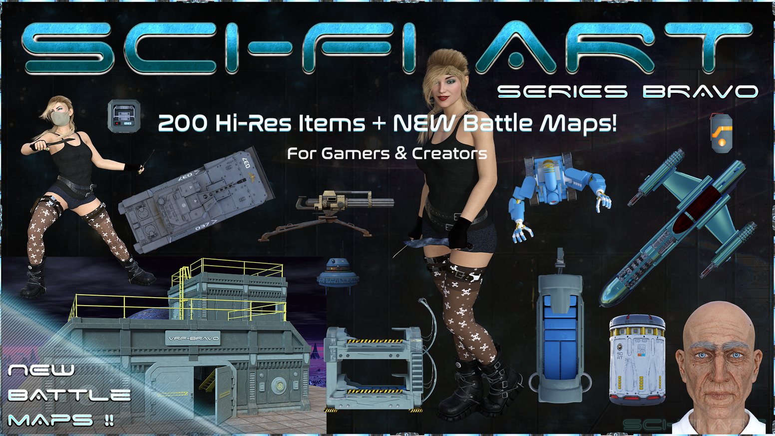 A Sci-Fi Art & Battle Map Pack of High Resolution 300dpi PNG Items & Objects for RPG's, GM's, Gamers & Creators of all ages.